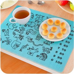 Wholesale Baby Silicone Placemat - Resuable Rectangle Silicone Placemat Soft Waterproof Anti Slip Tableware Mat For Baby Children Puzzle Learning Pad Practical 7ds B