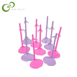 Wholesale Girl Mannequins - Wholesale 10pcs Dolls Toy Stand Support for Girls Prop Up Mannequin Model Display Holder Purple Pink Color S58