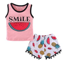 a6836fb5fc4a New Fashion Smile Watermelon Printed Baby Girls Summer Clothes Set Pink  Sleeveless Top+ Fruit Pants Cotton Clothes Set Outfits