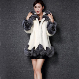 Wholesale Mink Fur Coat Hood - 6XL Winter Solid New Fur Faux Coat Mink Hair Rex Jacket Black White Fur Overcoat Imitation Rabbit Faux Fox Hooded #IJ5340