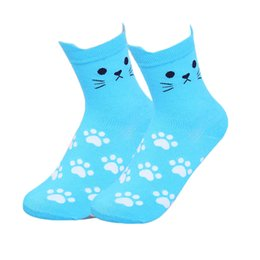 1 paio di calzini da donna con impronta di gatto di cartone animato Harajuku animali divertenti calzini di cotone con bottoni per ragazze femminili casual Sokken cheap animal girls tube da tubi animali da compagnia fornitori