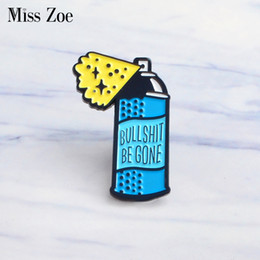 Wholesale asian coats - Miss Zoe Cartoon BE GONE Remove Style Enamel Pins spray away the nonsense Badge Denim coat Jewelry Gifts Brooches for Women Men