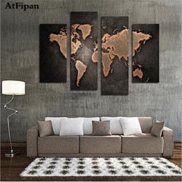 Wholesale Large Painted Canvas Art - Wholesale-AtFipan New World Map Painting Canvas Prints Large Wall Art Europe Vintage Maps Picture Living Room Study Office Decor No Frame