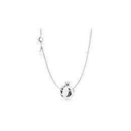 Coronas pandora online-1 unids Alloy Crown Collar Colgante con LOGO Se adapta a pandora 45 cm + 8 cm Cadena Mujer Regalo de Cumpleaños Femenino Chirstmas N002