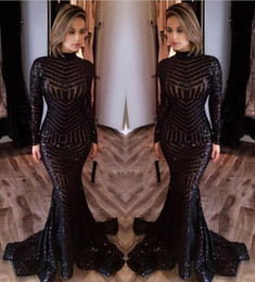 Wholesale Evening Shirt Dresses - Bling Bling Black Sequined Prom Dresses Evening Wear High Neck Mermaid 2018 Sexy Long Sleeve Floor Length Celebrity Pageant Gowns