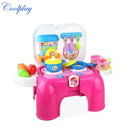 Wholesale Plastic Chairs Children - Coolplay CP008-93A Child Cooking Kitchen Toys Set Musical Multifunctional Play Cookware chair kids play house Role Toys