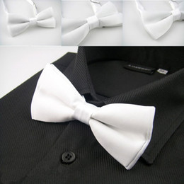 Wholesale Silk Tie Box Sets - LH-003 Bow tie Gift Box White Solid Plain Men's Tuxedo Adjustable Silk Bowtie For Men Formal Wedding Party Groom Free Shipping
