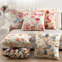 Wholesale country offices - Country Style Pillow Slip Indoor Outdoor Floral Cushion Cover 6 Designer Home Office Chair Decorative Pillowcase BH18046