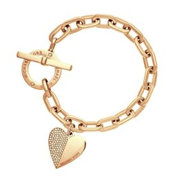 Wholesale Trendy Charm Bracelets - Fashion Exquisite Link Chain Polishing Crystal Gold Sliver Rose Gold Wrist Bracelet Trendy Heart Metal Cuff Bracelet