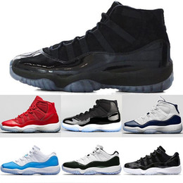 Wholesale prom designers - Prom Night Mens 11 basketball shoes 11s 2018 Designer Iridescent UNC Gym Red Space Jam 45 Concord Women Sports Sneakers Size 5.5-13