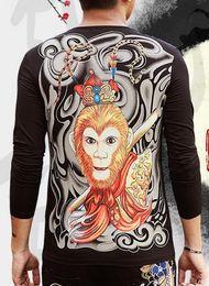 Wholesale Long Sleeve Tattoo Tops - Men's Casual Tee Long Sleeve T Shirt Chinese Monkey King Ukiyoe Tattoo Art Design Slim Fitted Tops Tees Hip Rock Fashion Elastic