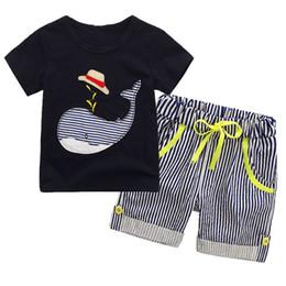 Wholesale Dinosaur Boy T Shirt - Summer Boy whale hat stripe suit new children cartoon dinosaur Short sleeve T-shirt +shorts 2 pcs set baby clothes suit