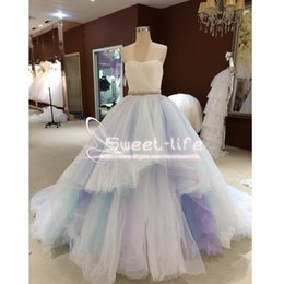 Wholesale Rainbow Dress Red - Rainbow Colorful 2018 Ball Gown Prom Dresses Sweetheart sleeveless Lace up Tiered Tulle Evening Party Dresses Vestidos De Formatura Robe De