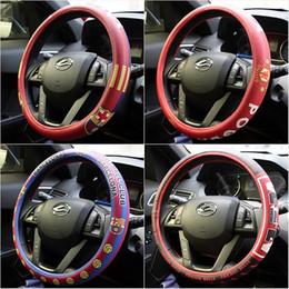 tampa do carro buick Desconto Barcelona e Manchest clube volante carro cobre, criativo futebol equipe microfibra volante couro cobre para BMW, audi, buick