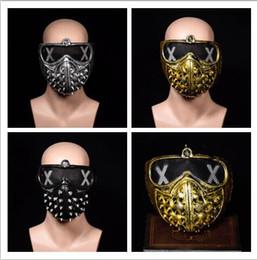 máscara de fantasma rosto cheio Desconto Halloween Punk COS Anime Stage executar Máscara Fantasmas hip-hop rebite morte Máscara Retro ouro prateado preto homens Máscara facial