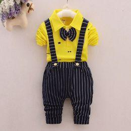 Bowtie del neonato online-Baby Boy Wedding Formal Tuxedo Suit Bowtie Gentleman Camicia Pantaloni Newborn Outfit bambino bambini ragazzo signore Sling formalset