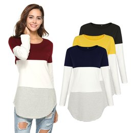 Wholesale Blue Striped T Shirt Women - Spring Women Tshirt 2018 Long Sleeved T-shirt Tricolor Striped T-Shirts Female Casual Patchwork Irregular Loose Tee Tops