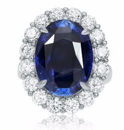 Wholesale Diamond Halo - LARGE GIA CERTIFIED 14.94CT DIAMOND & AAA SAPPHIRE PLATINUM HALO ENGAGEMENT RING