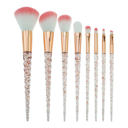 Wholesale mink makeup brushes - Bella Cullen Crystal brushes make up 8 PCS Unicorn makeup brushes pink Hair blending brush cosmetic brush set