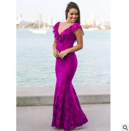 Wholesale Red Annuals - New summer women dress Sexy ladies clothing Lace mermaid dress Annual party gown Long skirt Red Black Purple Deep V