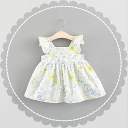 Les filles à volants manches robes florales été 2018 Kids Boutique vêtements coréens 1-4 t mignonnes petites filles robes sans manches en coton Offre spéciale ? partir de fabricateur