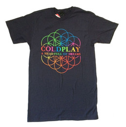 solid men t shirt full sleeve Coupons - Coldplay A Head Full Of Dreams Navy Blue T Shirt New Official Band Merch