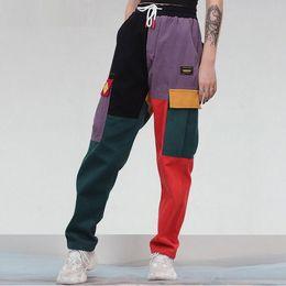 farbblock frauen Rabatt Cord Color Block Patchwork Taschen Cargo Pluderhosen 2018 Männer Frauen Harajuku Hip Hip Cotton Jogger Hosen Hosen