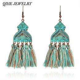 Wholesale Emerald Green Dangle Earrings - QIHE JEWELRY Tassel earrings Brass irregular green blue dangle drop bohemian earrings Rustic boho long tassel earring for women