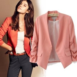 Wholesale colorful blazers - Fashion Blazers Women Suit Jacket 2017 New Spring Summer Pink Slim Short Colorful Blazer Feminino Lady Blaser Feminino Work Wear