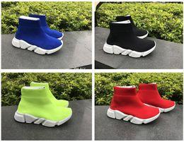 Envío gratis Kids Luxury Paris Speed Trainer Youth Boys Girls Fashion Stretch Mesh High Top Sneakers Knit Sock zapatillas a la venta desde fabricantes