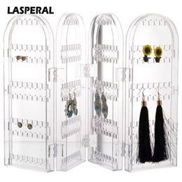 Wholesale acrylic jewelry display transparent - Lasperal Foldable Earring Storage Holder Rack Jewelry Display Cosmetic Box Makeup Organizer Acrylic Transparent Organizer 4 laye