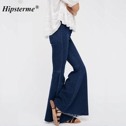 f218df845aea9 Hipsterme Elastic Stretch Women Super Flare Pants Washed Push Up Hip Ladies  Jeans 2018 Fashion Denim Pants Femme 2018 Jean Mujer