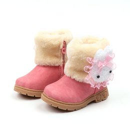 de19a846e84cf Winter Girls Boots Warm Cotton With Cartoon Rabbit Lace Kids Boots Fashion Snow  Boots Children Winter Shoes Toddler Girl