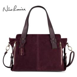 a2d813f670e7 Nico Louise Women Real Split Suede Leather Boston Bag Original Design Lady Shoulder  Large Travel Doctor Handbag Top-handle Bags