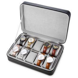 relojes mixtos Rebajas Especial para viajes Deporte Proteger 10 rejillas Caja de reloj de pulsera de cuero de PU de rejillas mixtas CaseZipper Reloj de viaje Caja de almacenamiento de joyas