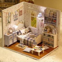 Wholesale Room Box Miniature - 1PCS Happy Series DIY Wooden Doll House Room Box Handmade 3D Miniature Dollhouse Wood Educational Toys Girl Gifts