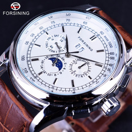 Wholesale Shanghai Watches - Forsining Moonphase Calendar Display Brown Leather ShangHai High Grade Automatic Movement Mens Watches Top Brand Luxury Watches