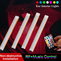 Lumières de musique pour voiture en Ligne-Voiture automatique de contrôle de voix de musique de couleur multi de lumières de bande de la voiture LED lumières intérieures de voiture sous le kit d'éclairage de tiret