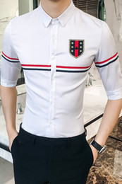 seven shirt Coupons - 2018 Summer dress new style of fashion han edition men handsome seven - sleeve shirt Free shipping