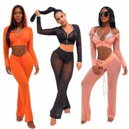 fce8646dbe3 2pcs set see through Bikini Cover Up 2018 sexy women mesh Swimwear Bathing  Suit Cover ups Saida De Praia Beachwear