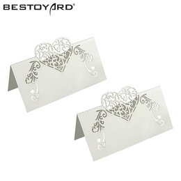 Wholesale table name cards - 50pcs Laser Cut Heart Shape Table Name Card Place Card Wedding Party Decoration Favor