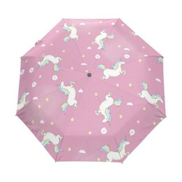 Wholesale Umbrellas Custom - Lovely Unicorn Running Umbrella Custom Design Personalized Portable Triple Foldable Sun and Rain Umbrellas for Children Gift