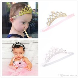 Wholesale princess crowns wholesale - Baby Headbands Gold Silver Crown Sparkle Bands Girls Kids Elastic Star Hairbands Princess Tiara Headband Accessories Photo Props KHA161