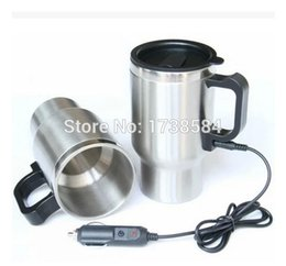 Wholesale Heater Wall - double wall stainless steel Automotive electric cup car glass, car kettle Vacuum heating cup heater thermos travel insulated mug