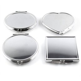 Wholesale CN RUBR Various Shapes Portable Folding Mirror Mini Compact Stainless Steel Metal Cosmetic Pocket Mirror For Tools