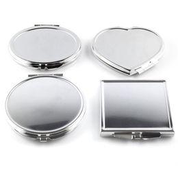 Förmigen spiegel online-Großhandel-CN-RUBR Verschiedene Formen Tragbarer Klappspiegel Mini Compact Edelstahl Metall Make-Up Kosmetische Taschenspiegel Für Makeup Tools