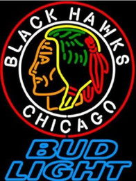 segno al neon di birra leggera Sconti Personalizzato New Bud Light Chicago Blackhawks Real Glass Neon Sign light Birra Bar Sign Invia bisogno di foto 19x15
