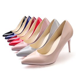 zapatos de charol rojo tacón grueso Rebajas 2018 Nuevo Nude Stiletto Heels Tip Black Worksheets Charol Azul Large yarda Red Wedding shoes Sexy Night shoes
