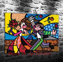 15 marco digital online-Romero Britto -15, Impresiones en lienzo Arte en la pared Pintura al óleo Decoración del hogar 24x32 20x27 16x20 12x16 (Sin enmarcar / Enmarcado)