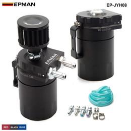 Wholesale Aluminum Cans - EPMAN - Universal Aluminum Oil Catch Tank Can Reservoir Tank + Breather Filter Color:Red Blue Black EP-JYH08